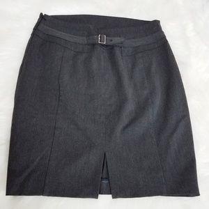 Express Grey Pencil Office Skirt Wait Belt Buckle